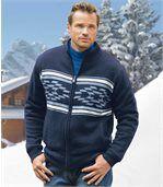 Rozpinany sweter z dzianiny podszytej polarem preview1