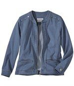 Women's Blue Stretch Denim Jacket preview2