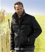 Men's Black Sherpa-Lined Faux Suede Jacket - Canada Collection preview1