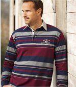 Gestreiftes Poloshirt mit Brustaufdruck preview1