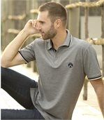 Pack of 2 Men's Piqué Polo Shirts - Navy Grey preview5