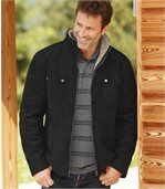 Men's Black Faux Suede Winter Coat with Sherpa Lining preview1