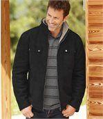 Semišová zimní bunda zateplená umělým beránkem preview1