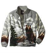 Fleecová bunda spotiskem grizzlyho