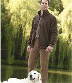 Rozciągliwe, welurowe spodnie preview2