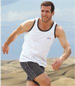 Pack of 3 Men's Sporty Beach Vests - Grey White Red preview2