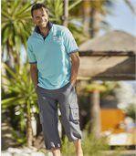 Men's Grey Microfibre Three-Quarter Length Trousers preview3