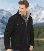 Men's Black Faux Suede Winter Coat with Sherpa Lining