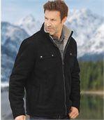 Semišová zimní bunda zateplená umělým beránkem preview3
