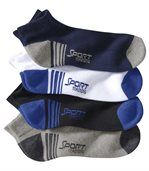 Pack of 4 Pairs of Men's Trainer Socks - Black Navy Grey White preview1