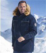 Men's Navy High Performance Parka with Faux Fur Hood preview1
