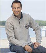 Molton-Sweatshirt mit geknöpftem Kragen preview1