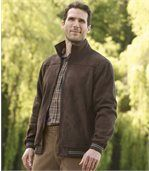 Men's Brown Faux Suede Jacket with Fleece Lining preview1