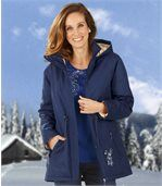 Women's Navy Blue Parka Coat preview2
