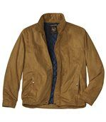 Men's Tan Quilted Faux Suede Jacket preview1