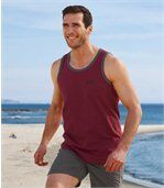 Pack of 3 Men's Sporty Beach Vests - Grey White Red preview3