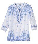 Women's Bohemian Summer Blouse - White Blue preview2
