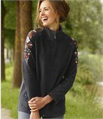 Women's Black Fleece Jacket - Embroidered preview1