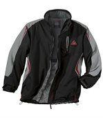 Men's Black & Red Water-Repellent Parka Coat
