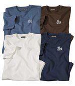 Pack of 4 Men's Plain T-Shirts - Brown Blue Ecru preview1