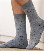 Pack of 3 Men's Patterned Socks - Blue Grey Black preview2