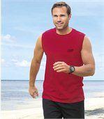 Lot de 3 Tee-Shirts sans manches Homme - Gris Noir Rouge - Tank Summer Sport preview2