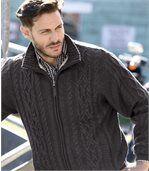 Men's Grey Fleece-Lined Knitted Jacket