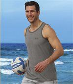 Pack of 3 Men's Sporty Beach Vests - Grey White Red preview4