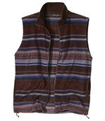 Men's Striped Outdoor Polar Fleece Gilet - Brown Blue Red