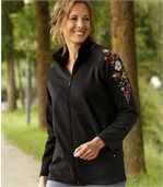 Women's Black Fleece Jacket - Embroidered preview3
