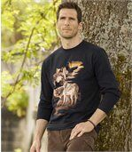 Men's Black Long Sleeve Top with Wolf Print - Cotton preview1