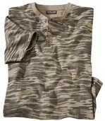 Camouflage T-shirt met knopenhals preview2