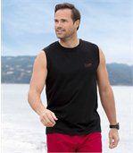 Lot de 3 Tee-Shirts sans manches Homme - Gris Noir Rouge - Tank Summer Sport preview3