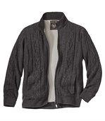 Trykotowa bluza z warkoczami podszyta polarem preview2