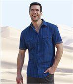 Popelínová kockovaná košeľa Blue Intense preview1