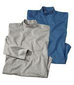 Pack of 2 Men's Roll-Neck Jumpers - Blue Grey