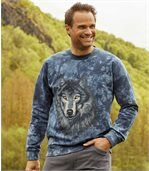 Meltonový svetr spotiskem vlka