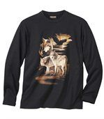 Men's Black Long Sleeve Top with Wolf Print - Cotton preview2