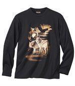 Tričko sdlhými rukávmi smotívom vlka