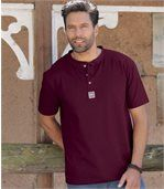 Pack of 3 Men's Button Neck T-Shirts - Burgundy White Black preview2