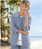 Veste en Jeans Femme Bleue Brodée Denim Léger preview1