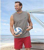 Lot de 3 Tee-Shirts sans manches Homme - Gris Noir Rouge - Tank Summer Sport preview4