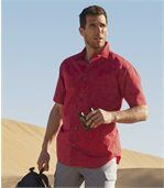 Men's Red Patterned Poplin Shirt preview1