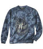 Men's Blue Wolf Print Brushed Fleece Sweatshirt