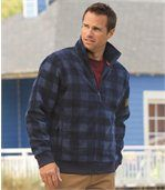 Men's Blue Checked Jacket - Fleece preview1