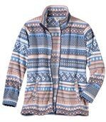 Women's Fleece Zip-Up Jacket with Jacquard Motif preview2