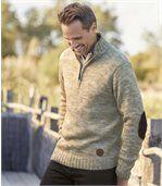 Melírovaný pulóver s golierom na zips