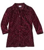 Women's Red Velour Blouse - Animal Print