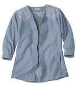 Women's Denim Jacket with Embroidered Shoulders