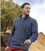 Sweter z warkoczami i wykładanym kołnierzem preview1